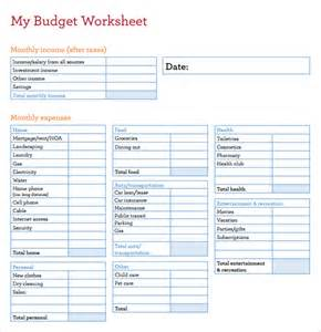 budget worksheet template budget worksheet template 6 free sles exles
