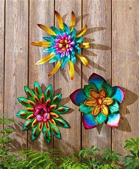 Garden Wall Hangings Indoor Outdoor Metallic Layered Garden Flower Wall Hanging