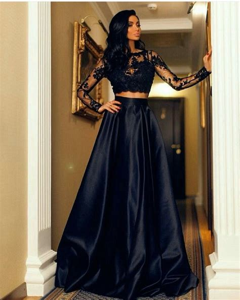 Aliexpress.com : Buy Fashion Black Lace Long Sleeve Two Piece Prom Dresses 2016 Floor Length A