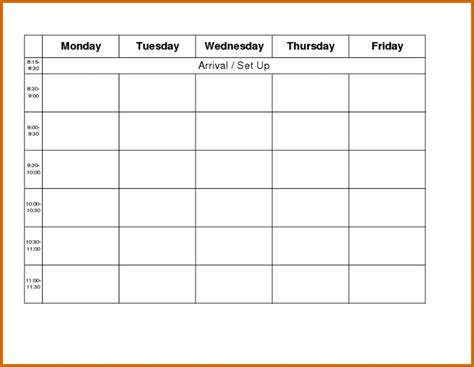 Monday Thru Friday Calendar Template Online Calendar Templates Free Monday Through Friday Calendar Template
