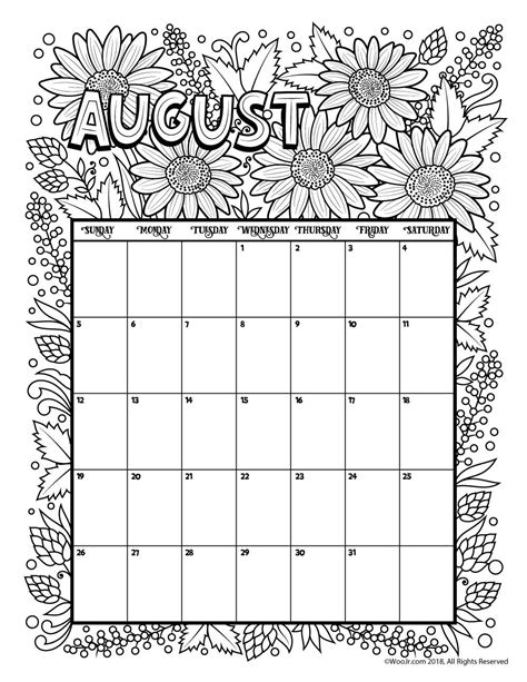 Coloring Page 2018 by August 2018 Coloring Calendar Page сделай сам