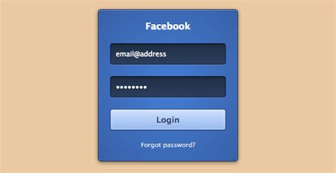 facebook login form 183 html css code snippet