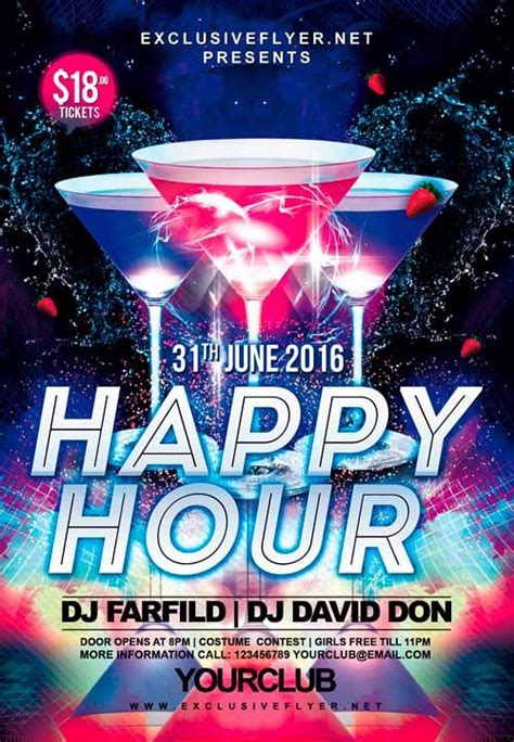 Free Happy Hour Party Psd Flyer Template Yxc Pinterest Happy Hour Flyer Template Free