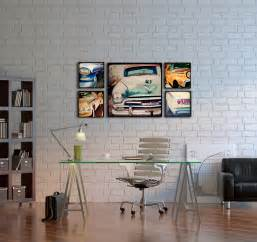 wood photo blocks vintage cars home decor wall