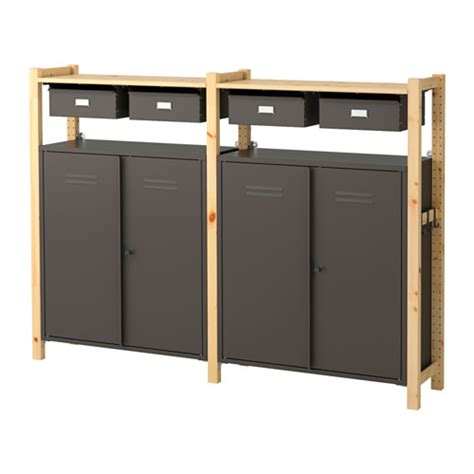 ivar 2 sections shelves cabinet ikea ivar 2 sections shelves cabinets pine grey 175x30x124 cm