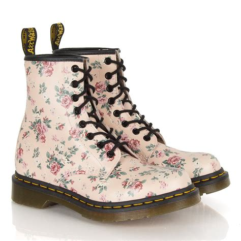 s floral boots dr martens pink w floral women s 8 eye flat boot