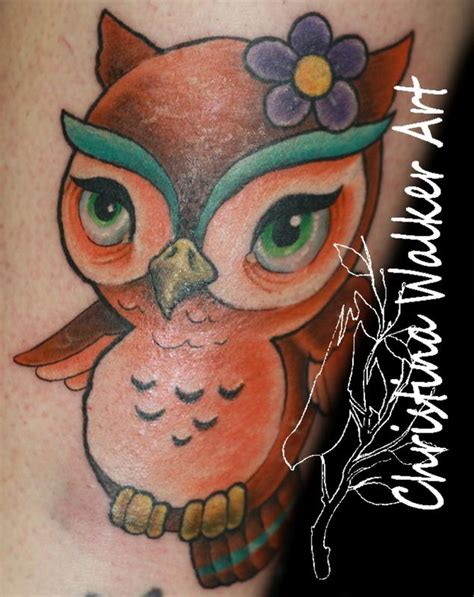 owl tattoo orange eyes orange cartoon owl by christina walker tattoos