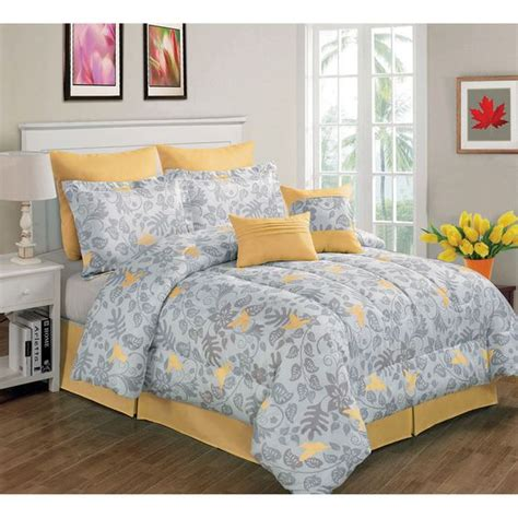 yellow comforter sets king gray and yellow forest bird comforter set king 8 piece
