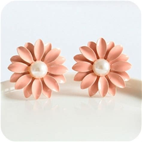 Anting Korea Sweet Flowers Resin Simple Earrings simple resin flower stud earrings with pearl stud earrings earrings