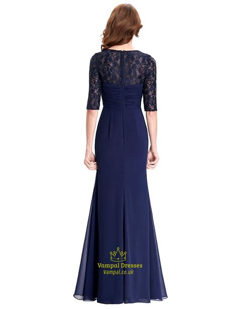 Sleeve A Line Chiffon Dress navy blue half sleeve sweetheart lace chiffon a line