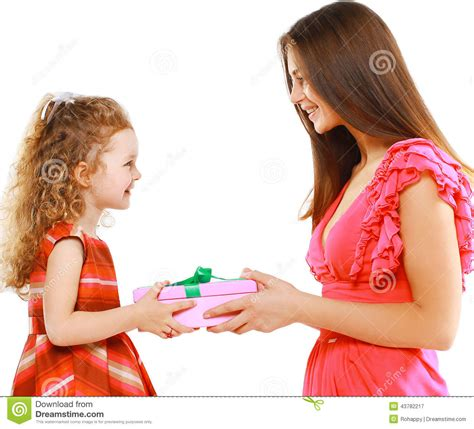 happy mother gives gift box child christmas holiday