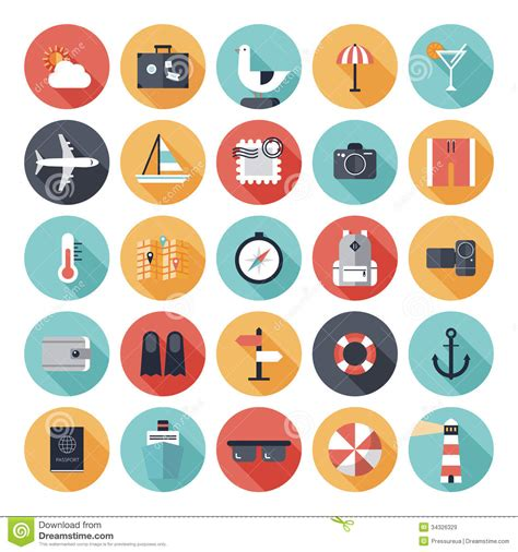 travel and vacation flat icons set stock vector image