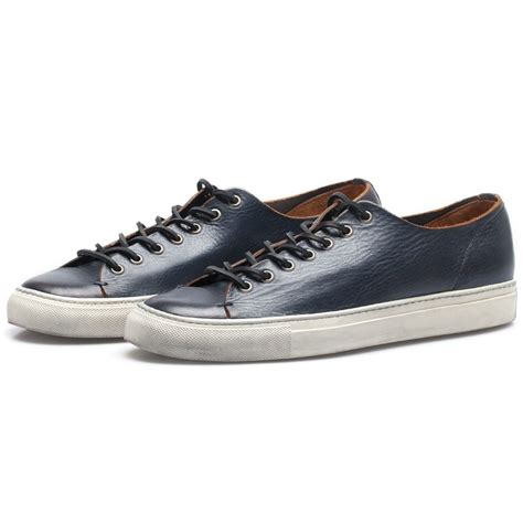low profile sneakers buttero navy leather tanino low profile sneakers in blue