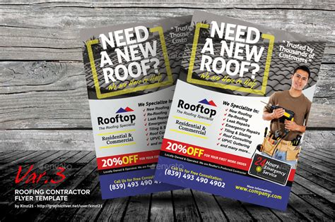 Roofing Contractor Flyer Templates By Kinzi21 Graphicriver Roofing Flyer Templates