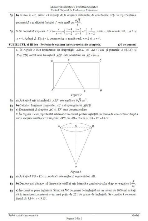 Evaluare Edu Ro Evaluarea Națională 2016 Subiecte și Barem Matematică Edu Ro