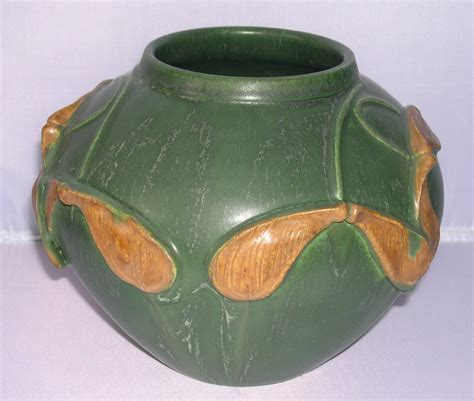 Door Pottery by Door Pottery Arts Crafts Matte Green Whirly Gig Vase For