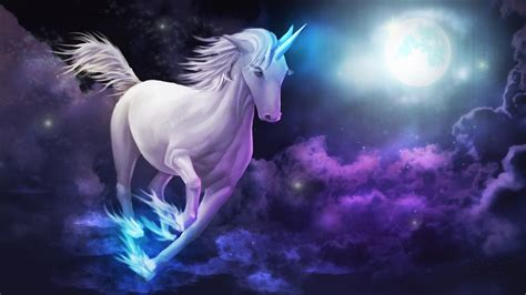 wallpaper hd unicorn unicorn galloping sky clouds full moon desktop wallpaper