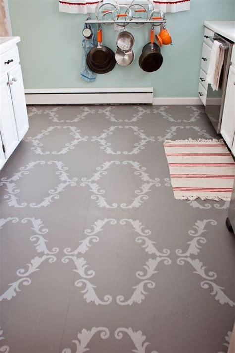 Stenciled Kitchen Floor Inspiring Diy Pinterest Diy Kitchen Floor