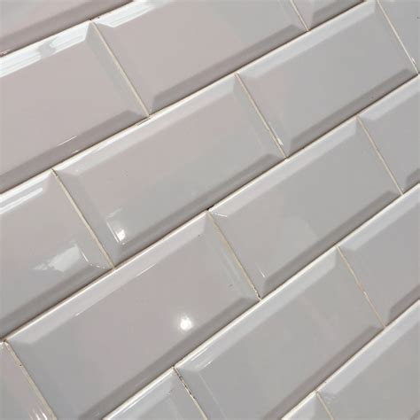 Metro light grey bevelled brick 10x20 cm kitchen wall tile by fabresa