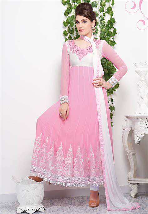 dress design in white colour buy fabulous light pink color georgette and white crosia