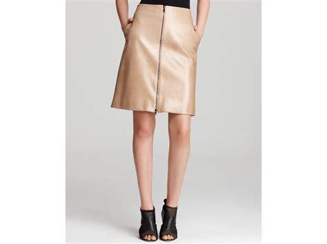 robert rodriguez zip leather skirt in beige lyst