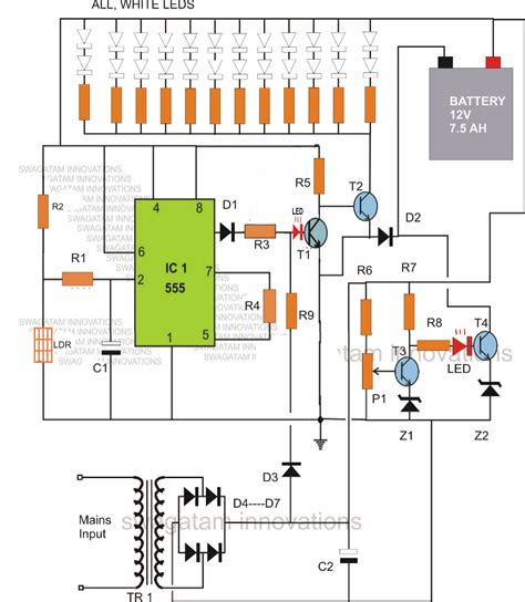 capacitor overcharge protection circuit led emergency light circuit with battery charge protection