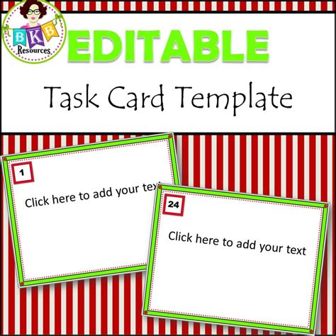 Task Card Answer Template by Editable Task Card Templates Bkb Resources