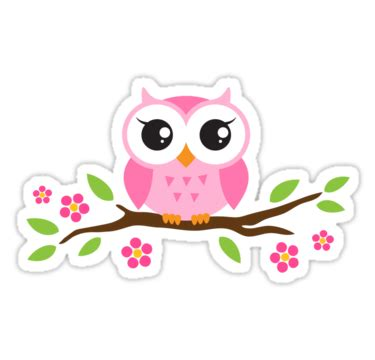 5185 Slempang Fashion Owl Pink Black N Grey pink baby owl sitting on a branch with leaves and flowers by mheadesign buho