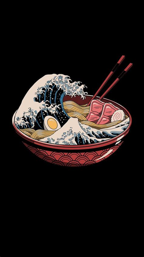 great wave  ramen   japanese art modern