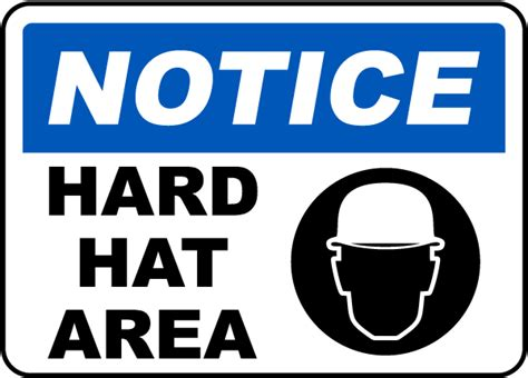 printable hard hat area sign notice hard hat area sign by safetysign com g2324