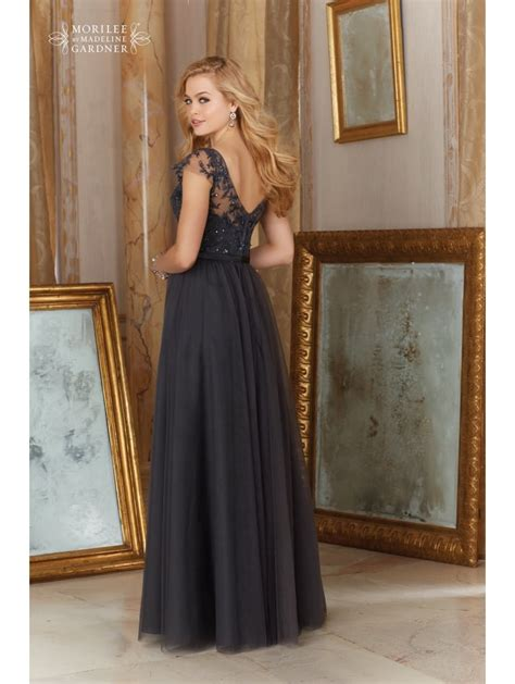 Tulle Top Dress mori 154 tulle with lace top dress charcoal grey