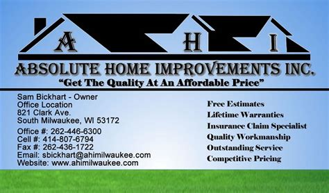 free home improvement business card templates absolute home improvements inc 414 755 3528 717 clark