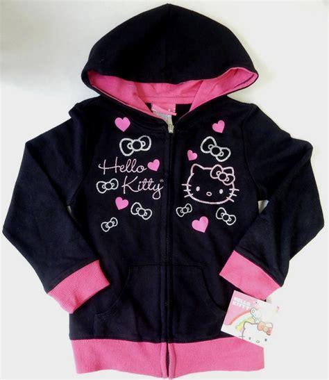 Hoodie Longkitty Black sanrio hello size 5 black pink zip up hoodie clothing ebay