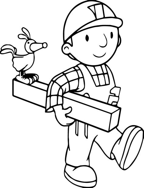 good bob the builder and bird coloring page with bob the