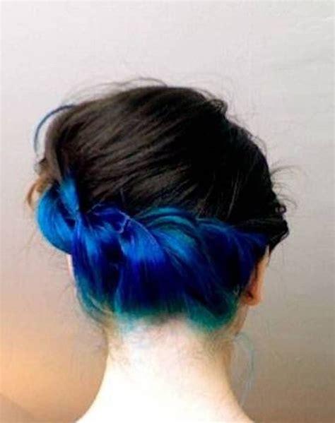 how to dye hair dark underneath braid blue black hair dye hair and make up pinterest