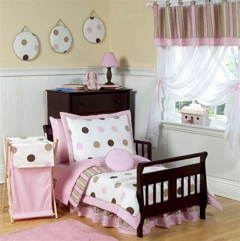 Pink And Brown Modern Polka Dots Toddler Bedding 5pc Set Pink And Brown Bedding Sets