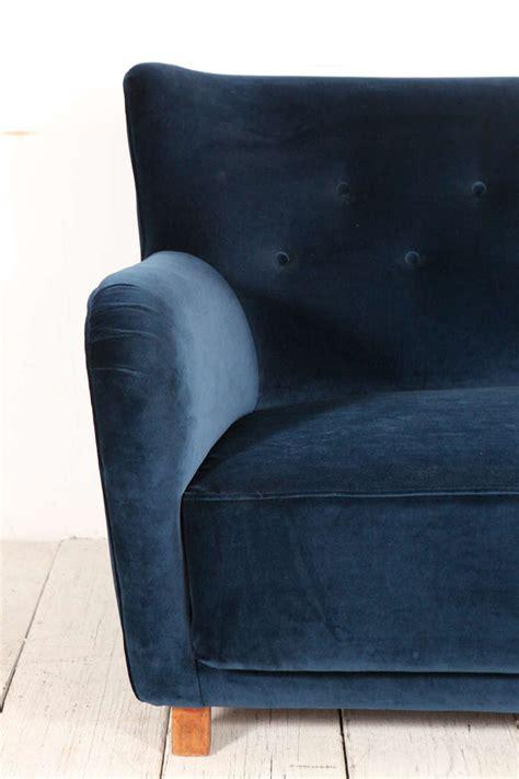 blue velvet tufted sofa italian modernist blue velvet curved back tufted sofa at
