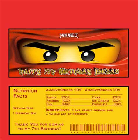 Ninjago Birthday Card Template by Ninjago Bar Wrappers Made To Match Invitations