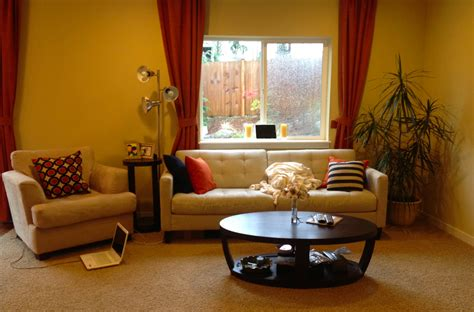 a happy yellow living room before after killam