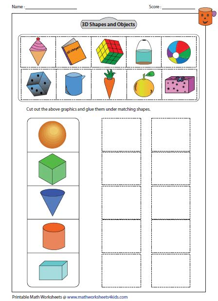 printable 3d shapes games for kindergarten cut and glue activity math pinterest activities