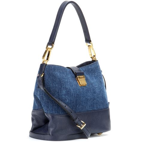 Denim Bag lyst miu miu leather and denim bag in blue