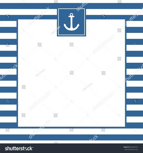 nautical card templates nautical vector card invitation anchor blue stock vector