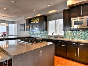 range in island kitchen waterfall kitchen island hgtv