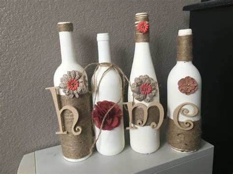 home decor with wine bottles wine bottle home decor decoration handmade by chiclyshabbydesigns wine bottles