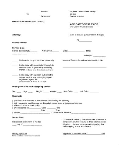 Affidavit Of Service Form Sles 8 Free Documents In Word Pdf Affidavit Of Non Service Template