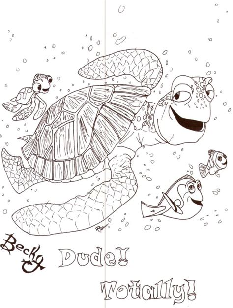 coloring pages of squirt from finding nemo crush and squirt by minime2210 on deviantart