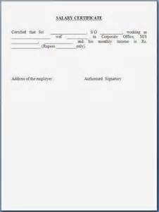 Address Certification Letter Format Sample Salary Certificate Letter