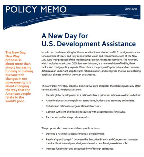 policy change memo template policy memo template 9 free documents in pdf