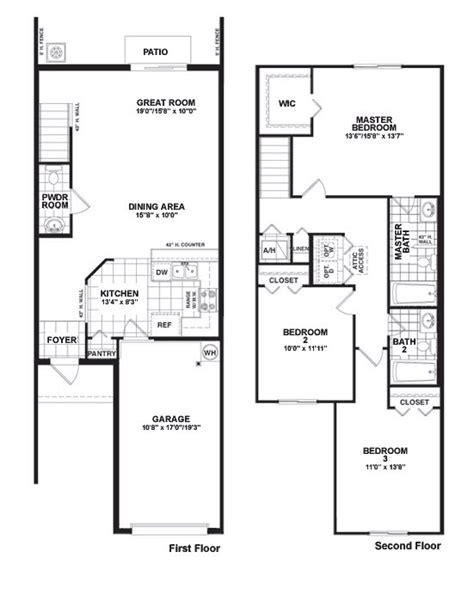 three bedroom townhouse floor plans two storey townhouse plans modern house