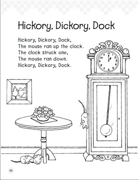 free coloring pages of hickory dickory clock